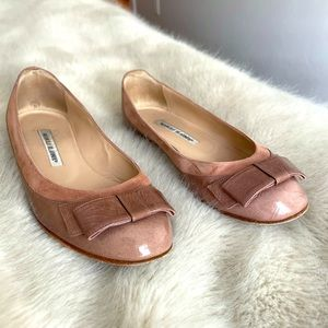 Patent Leather & Suede Ballet Flats